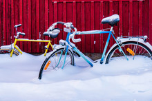 Bicycles Parked In Snow