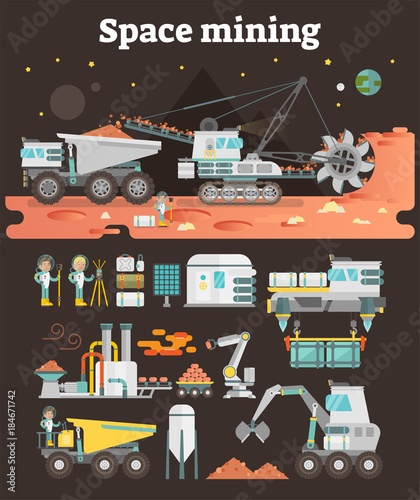 Space asteroid mining concept illustration with set of machinery, buildings, peo Tablou Canvas