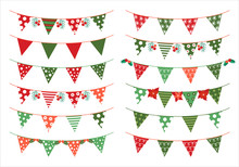 Christmas Vector Triangle Bunting Flags In Green And Red Colors For Invitations And Greeting Cards