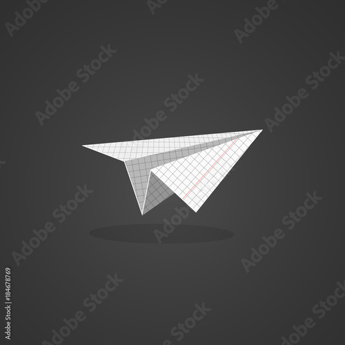 Origami glider icon  Paper airplane made from squared