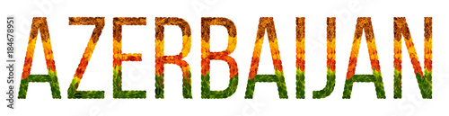 Photo word azerbaijan country is written with leaves on a white insulated background,
