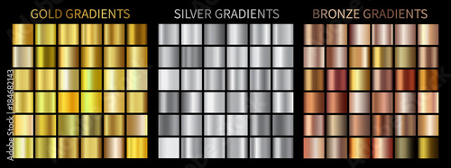 Poster de jardin Metal Gold, silver, bronze gradients