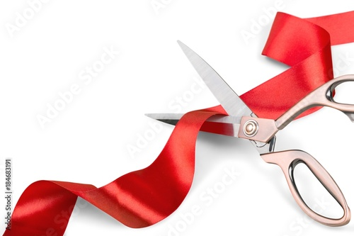 Fotografía Scissors Cutting Red Ribbon