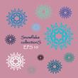 Set of silhouettes Snowflakes.
