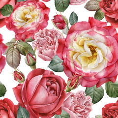 Fototapeta Do salonu Floral seamless pattern with watercolor roses and peonies