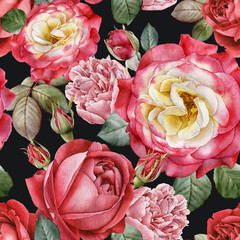 Panel Szklany Podświetlane Peonie Floral seamless pattern with watercolor roses and peonies