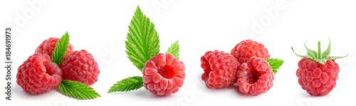Foto op Plexiglas Vruchten Collection of sweet raspberries