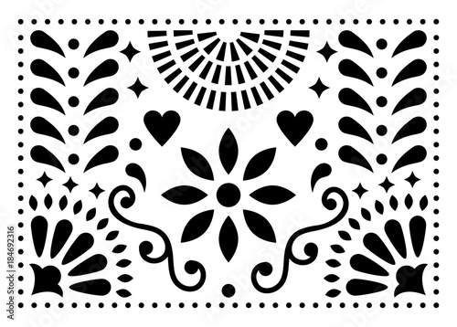Fotografija  Mexican folk art vector pattern, colorful design with flowers inspired by tradit