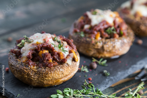 Stuffed mushrooms with beef cheese and spices