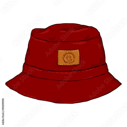 0da6e07654f Vector Single Red Cartoon Bucket Hat. Front View. - Buy this stock ...