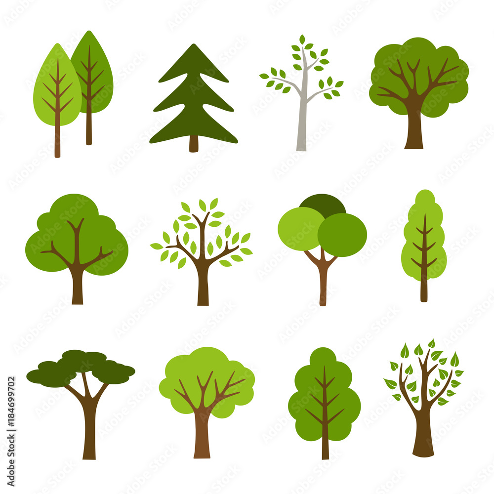 Fototapety, obrazy: Trees Icons Collection