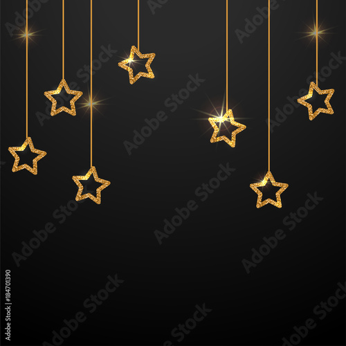 Gold Star Background Vector Ilration Template For Banner Poster And Postcard With E Text Decorative Golden Stars Are Hanging On The