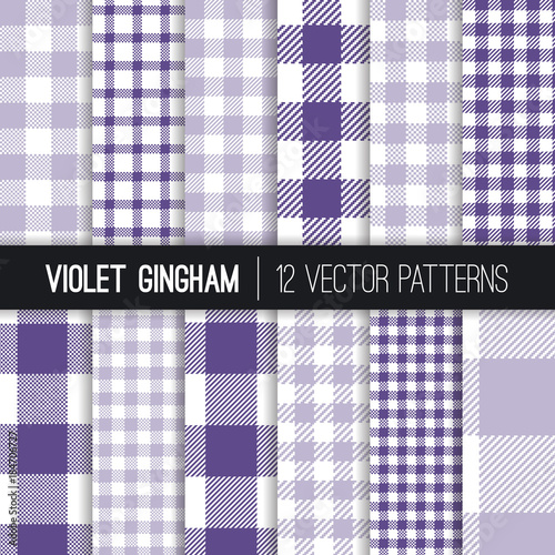 Purple And Lavender Pixel Gingham And Buffalo Check Plaid Vector Patterns.  Ultra Violet   2018