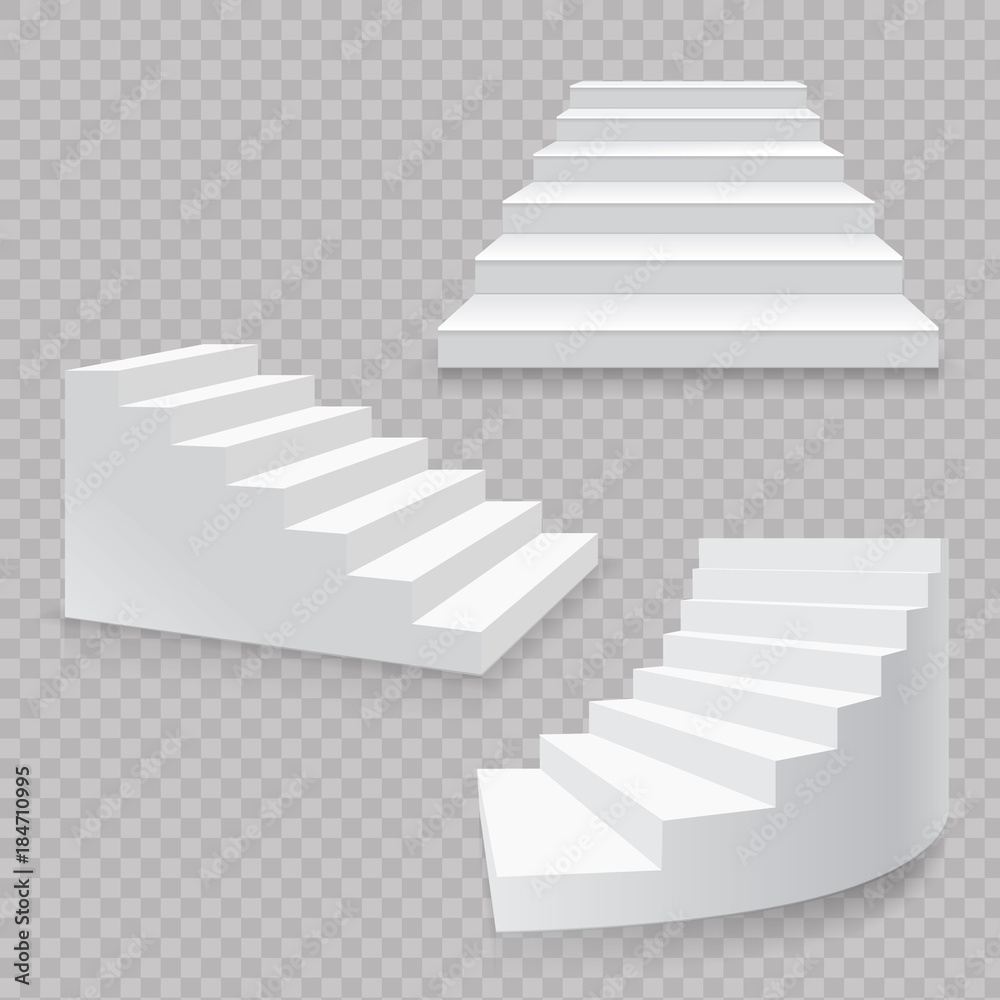 Fototapeta White stairs realistic isolated set. 3d staircases vector