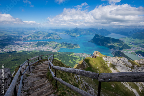 Lake Lucerne from the Pilatus hiking trail Switzerland Tableau sur Toile