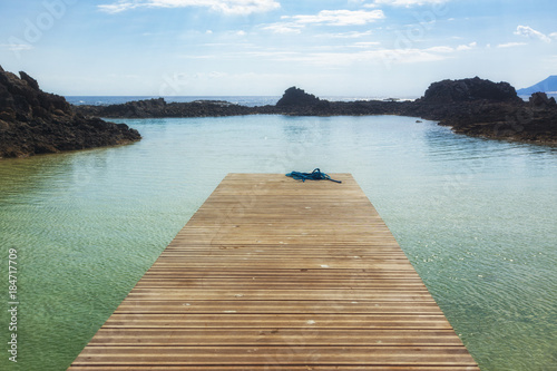 Foto op Plexiglas Canarische Eilanden Empty jetty at the lagoon of Los Lobos island near Fuerteventura