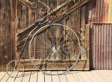 Old High Wheel Bicycle In Fron...