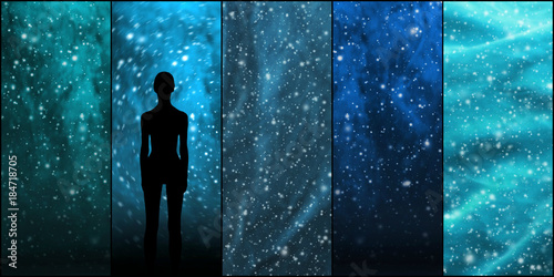 Poster UFO Universe, stars, constellations, planets and an alien shape. Space backgrounds collection.