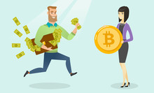 Caucasian Man Running With Briefcase Full Of Fiat Money To A Woman Holding A Bitcoin Coin. Man Is Going To Exchange His Money To Bitcoin. Cryptocurrency Exchange Concept. Vector Cartoon Illustration.