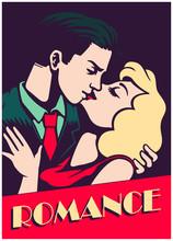 Retro Mid-century Lovers Couple Kissing, Romantic Passionate Kiss, Romance Valentine's Day Vector Illustration