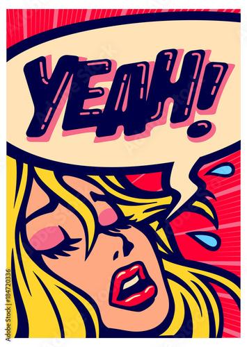 Leinwand Poster Pop art style comic book panel girl screaming for pleasure having orgasm vector