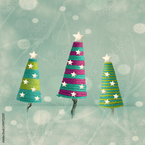 Poster Surrealism Cones shape Christmas Trees