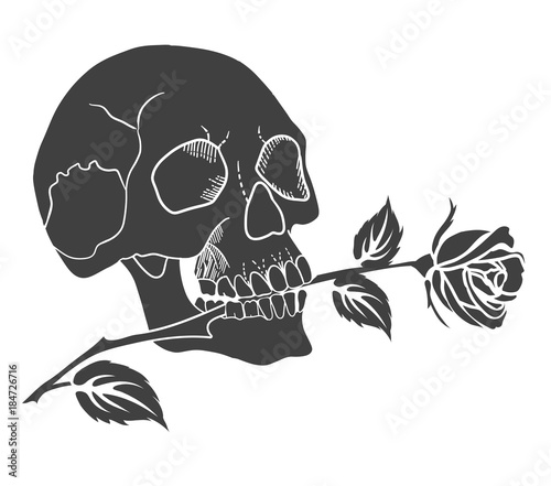 The human skull holds a rose in the teeth. Black silhouette of tattoo vector illustration.
