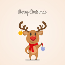 Funny Reindeer With Christmas ...