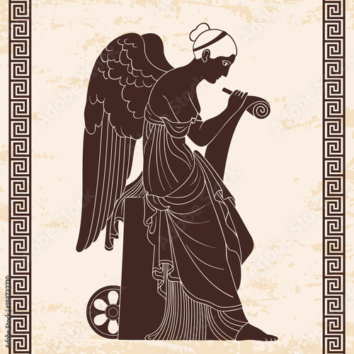 Photo  Ancient Greek goddess Nemesis with wings sits, holds a papyrus and stylus and writes