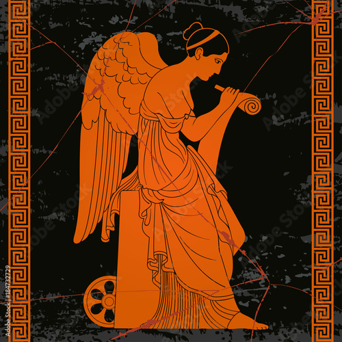 Ancient Greek goddess Nemesis with wings sits, holds a papyrus and stylus and writes Canvas Print