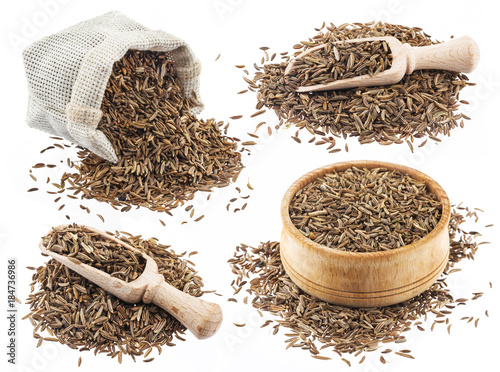 Cumin or caraway seeds isolated on white background