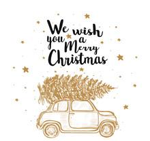 Merry Christmas Fir Tree By Car.