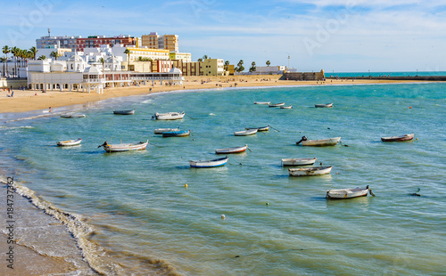 Boats in the harbour in Cadiz, Spain