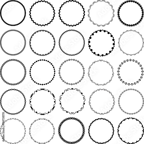 Fototapeta set of decorative circular frames obraz