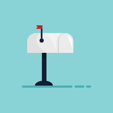 Mailbox With The Small Red Flag. Isolated On The Blue Background. Flat Design. Illustration