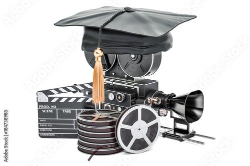 Education in film school concept, 3D rendering