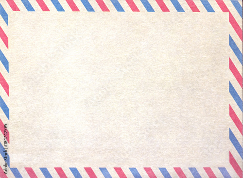 Photo Empty airmail blank or letter, cardboard paper.