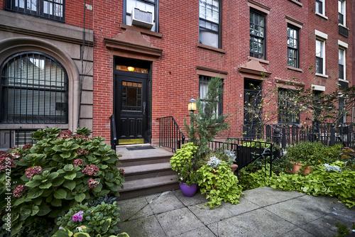 Fotografie, Obraz  a row of brownstone buildings