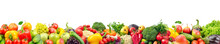 Wide Collage Of Fresh Fruits A...