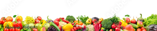 Wall Murals Fresh vegetables Wide collage of fresh fruits and vegetables for layout isolated on white background.