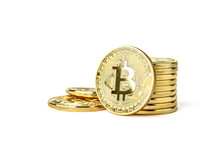 Stack Of Golden Bitcoins On White Background