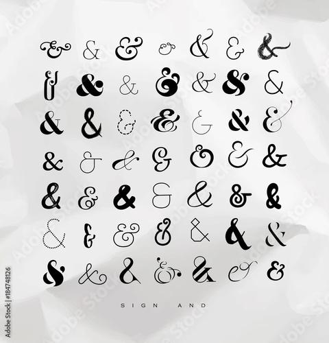 Set ampersands for letters Wallpaper Mural