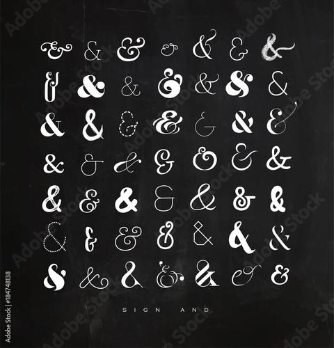 Set ampersands for letters chalk Canvas Print