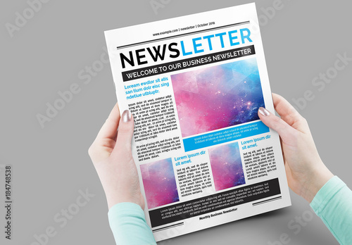 12 page newsletter layout with blue accents buy this stock template