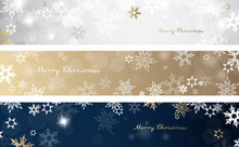 Set Of Three Colorful Christmas Background Banners With Snowflakes And Simple Merry Christmas Text - Horizontal Version