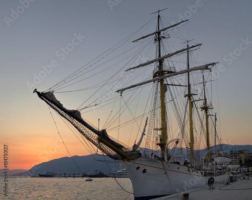 Staande foto Athene Sailing ship at sunset in Tivat, Montenegro