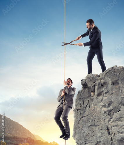 Fotografia Businessman who doesn't help a competitor