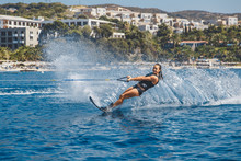 Water Skis Glides On The Waves...