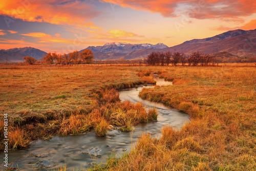 Foto op Aluminium Oranje eclat Colorful sunrise in rural Utah, USA.
