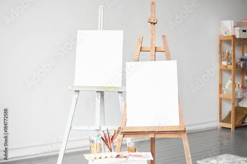 Horizontal light shot of painter workplace mock up